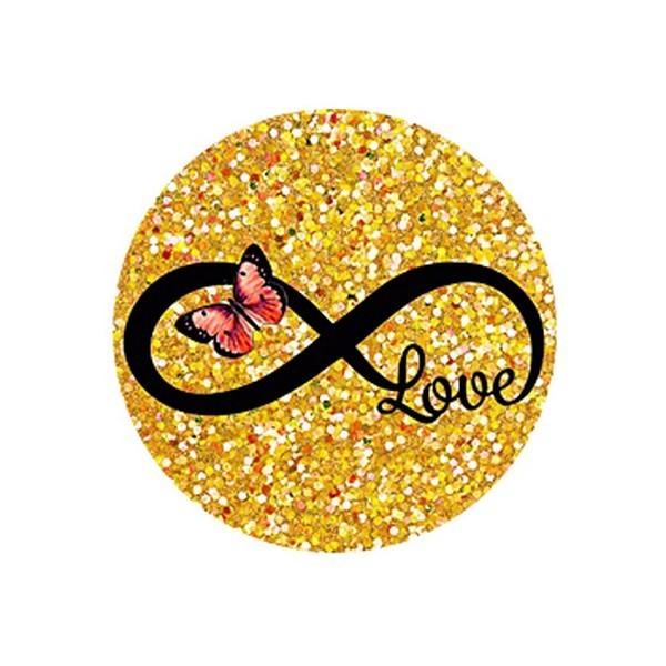 2 Cabochon Verre 12 mm, Cabochon Rond, Love Infini Doré Rose - Photo n°1