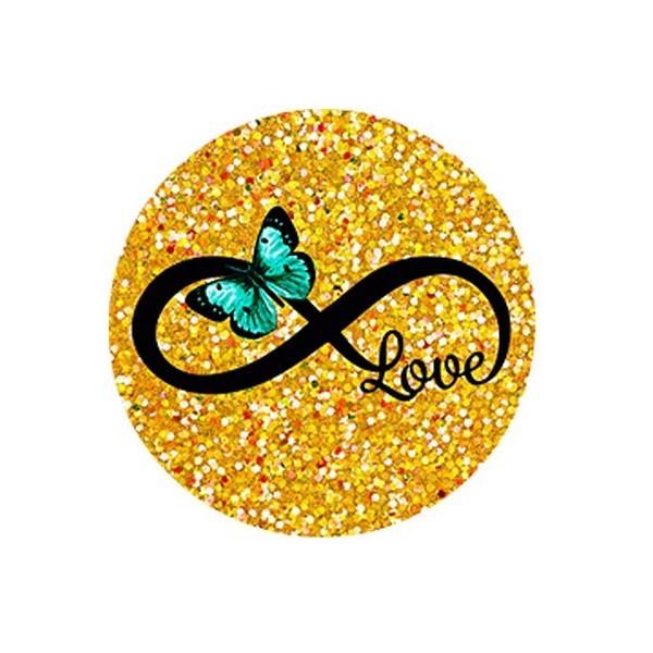 2 Cabochons Verre 14 mm, Cabochon Rond, Love Infini Doré Turquoise - Photo n°1