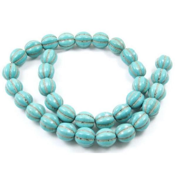 bracelet 20 Perles 8mm Synthétique Pierre Turquoise creation bijoux collier