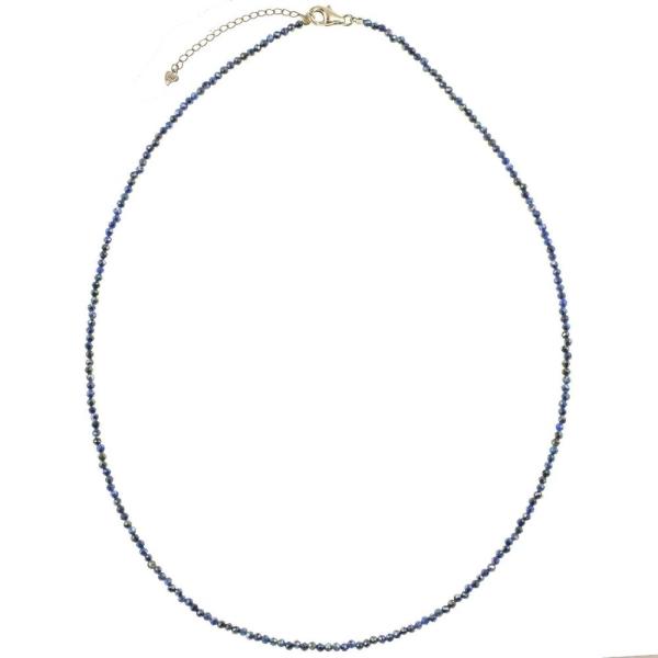 Collier en lapis lazuli - Perles facettées ultra mini - Argent 925. - Photo n°1