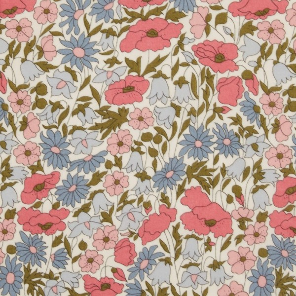 Tissu Liberty Poppy and Daisy rose et bleu - Photo n°1