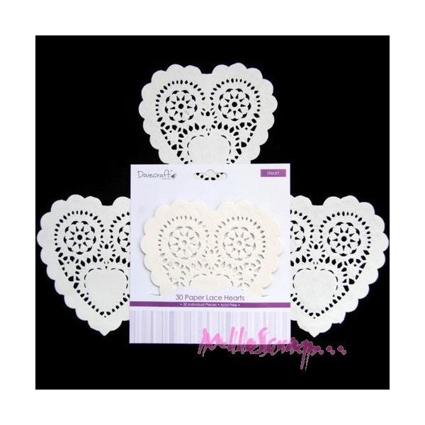 Napperons cœurs en papier - Dovecraft - 30 pièces - Photo n°1