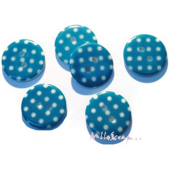 Boutons plastique petits pois bleu - 10 pièces - Photo n°1
