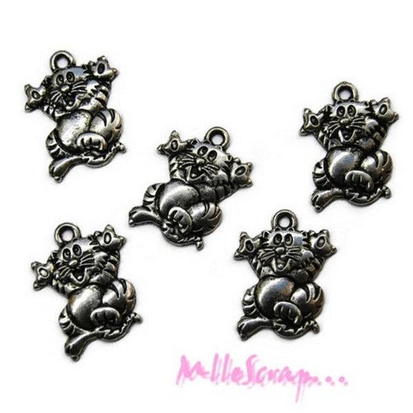 Breloques petits chats métal argent - 5 pièces - Photo n°1