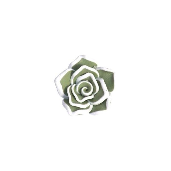 10 Perles Fleurs Kaki en Pâte Polymère - Photo n°1