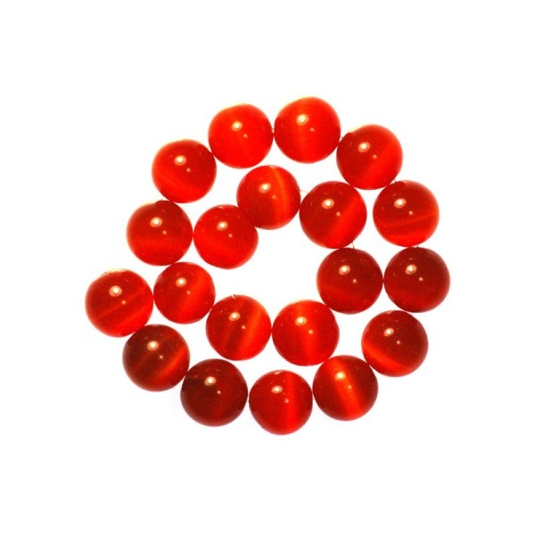 5 x Perle en Verre Oeil de Chat 12mm Orange Rouge - Photo n°2