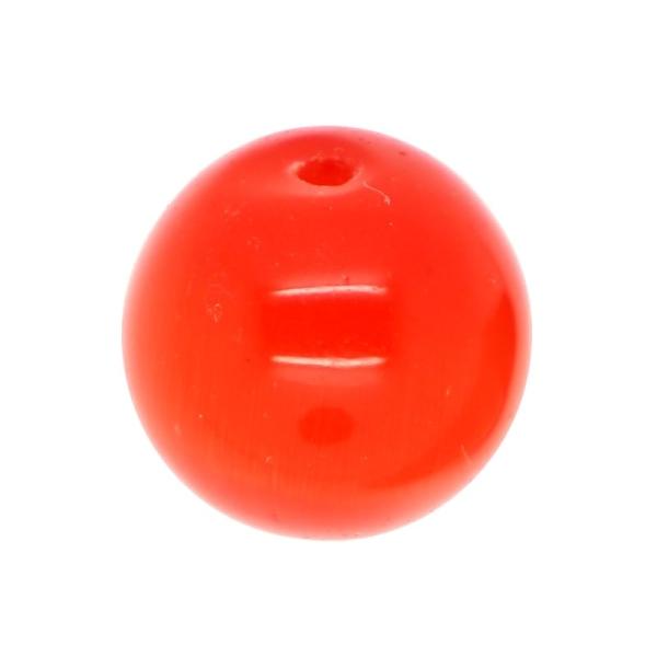 5 x Perle en Verre Oeil de Chat 12mm Orange Rouge - Photo n°1