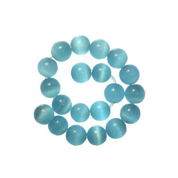30 x Perle en Verre Oeil de Chat 6mm Bleu Glacé - Photo n°2