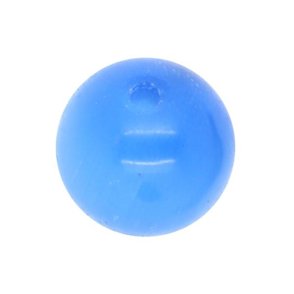 30 x Perle en Verre Oeil de Chat 6mm Bleu Glacé - Photo n°1