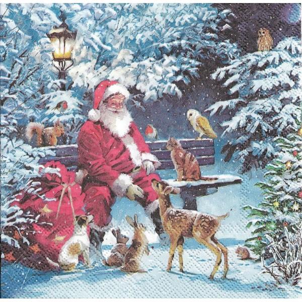 4 Serviettes en papier Père Noël Animaux Format Lunch Decoupage Decopatch 33313410 Ambiente - Photo n°2