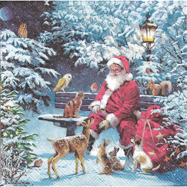 4 Serviettes en papier Père Noël Animaux Format Lunch Decoupage Decopatch 33313410 Ambiente - Photo n°1