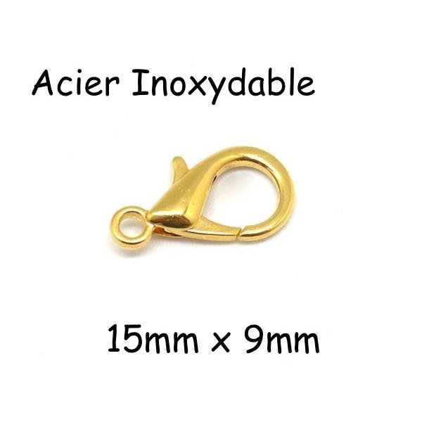5 Fermoirs Mousqueton Doré En Acier Inoxydable 15mm X 9mm - Photo n°1