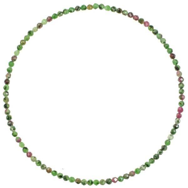 Bracelet en rubis zoïsite - Perles facetées ultra mini. - Photo n°1