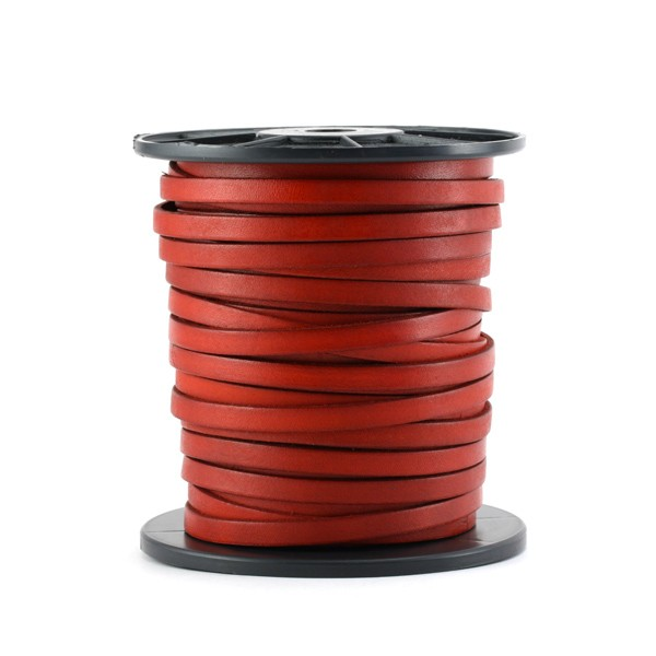 Cuir plat veau rouge 5 mm x10 cm - Photo n°1