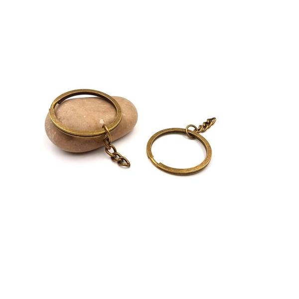 10 Anneaux Porte-clés Avec Chaînette 59mm Bronze - Photo n°1