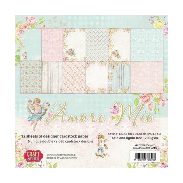 12 papiers fantiaisies scrapbooking 30 x 30 cm CRAFT & YOU AMORE MIO - Photo n°1