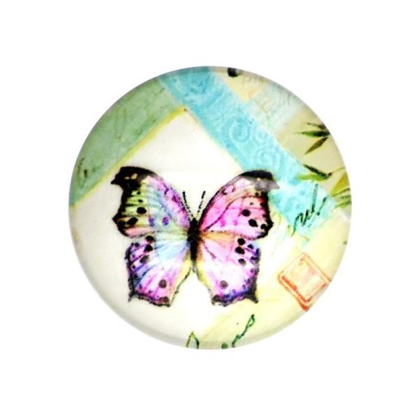 5x Cabochon Imprimé Papillon 25mm - Photo n°1