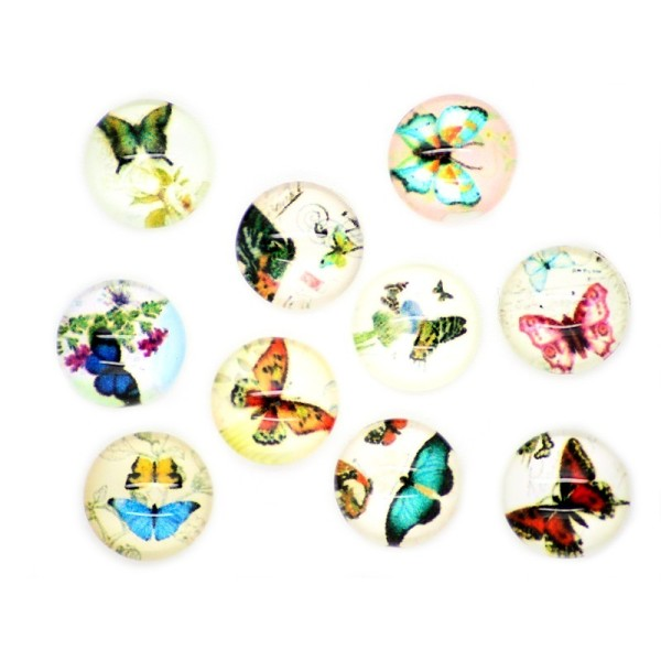 10x Cabochon Imprimé Papillon 10mm - Photo n°2