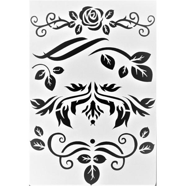 POCHOIR PLASTIQUE 26*18cm : roses, fleurs et feuilles - Photo n°1