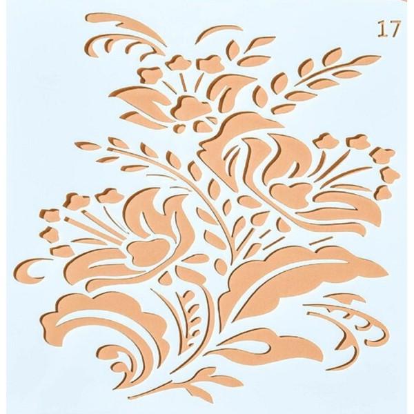 POCHOIR PLASTIQUE 13*13cm : fleur (32) - Photo n°1