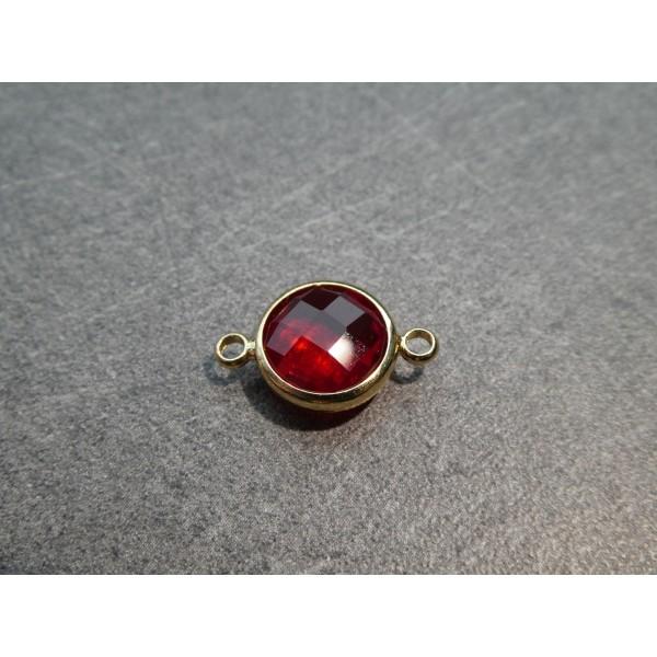 Connecteur rond laiton doré et verre facetté - 16*10mm - Rouge - Photo n°1