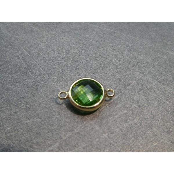Connecteur rond laiton doré et verre facetté - 16*10mm - Vert - Photo n°1