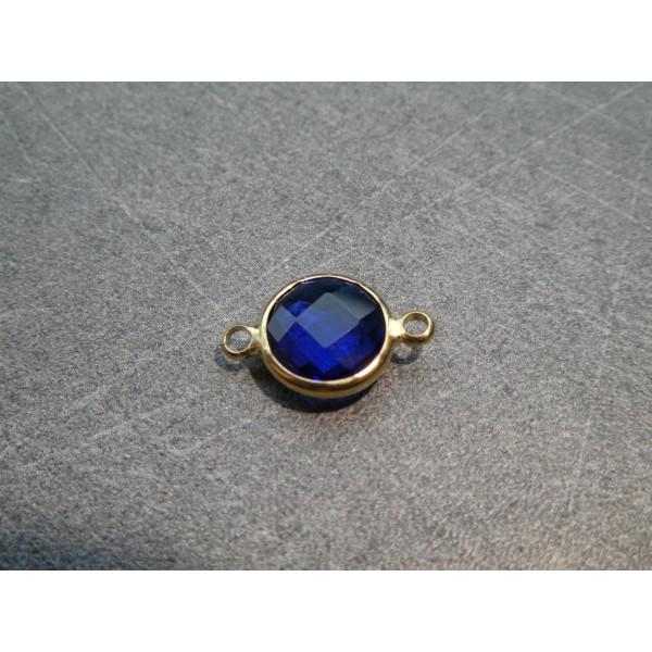 Connecteur rond laiton doré et verre facetté - 16*10mm - Bleu saphir - Photo n°1