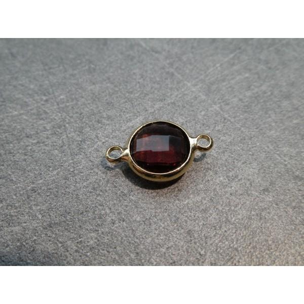 Connecteur rond laiton doré et verre facetté - 16*10mm - Prune - Photo n°1