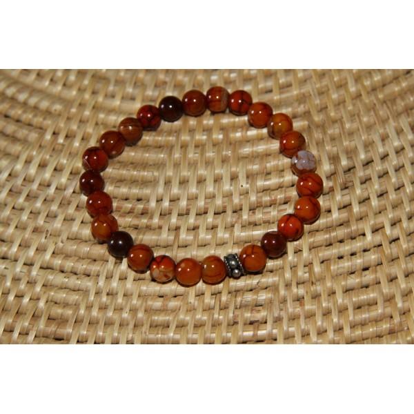 Bracelet  perles d'agate ocre et argent - Photo n°2