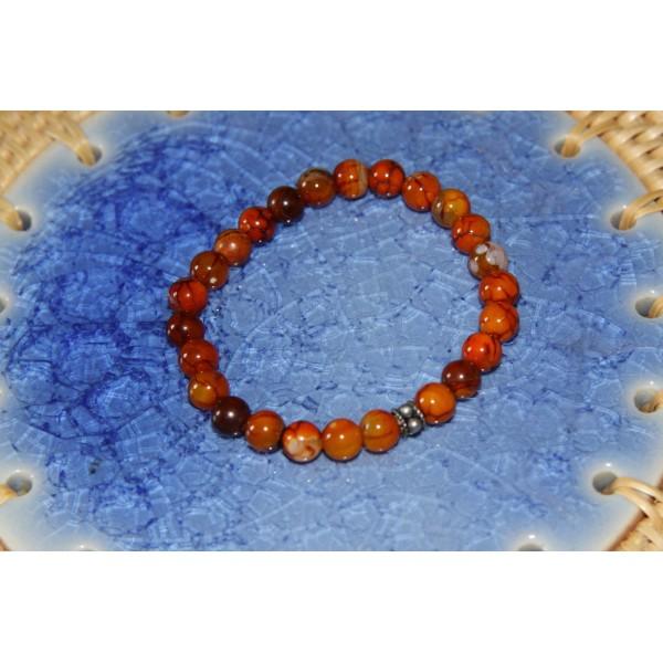 Bracelet  perles d'agate ocre et argent - Photo n°3