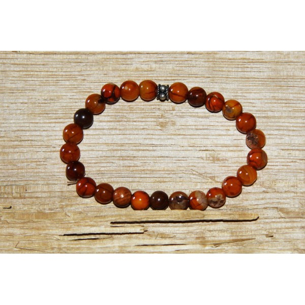 Bracelet  perles d'agate ocre et argent - Photo n°1