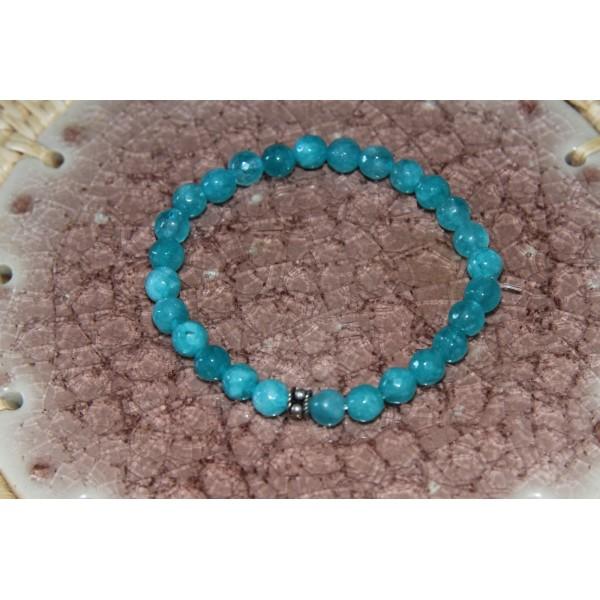 Bracelet  perles d'agate bleues et argent - Photo n°3