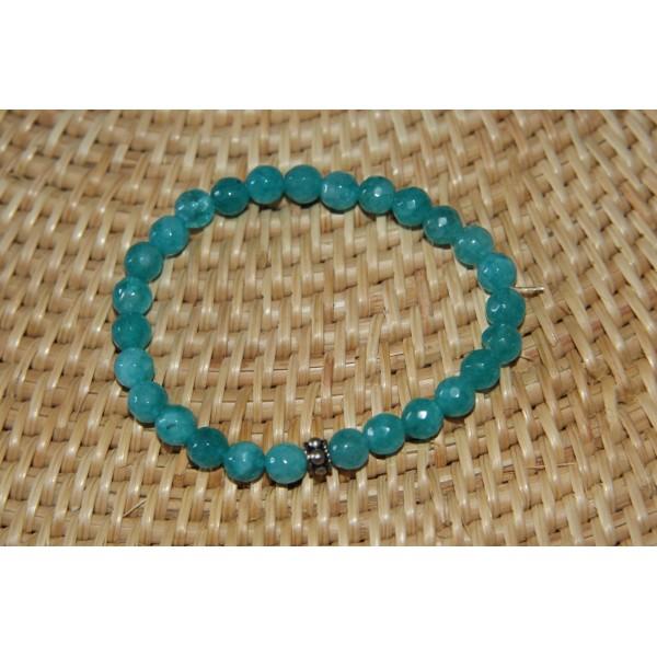 Bracelet  perles d'agate bleues et argent - Photo n°4