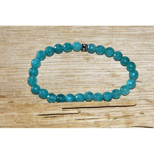 Bracelet  perles d'agate bleues et argent - Photo n°1