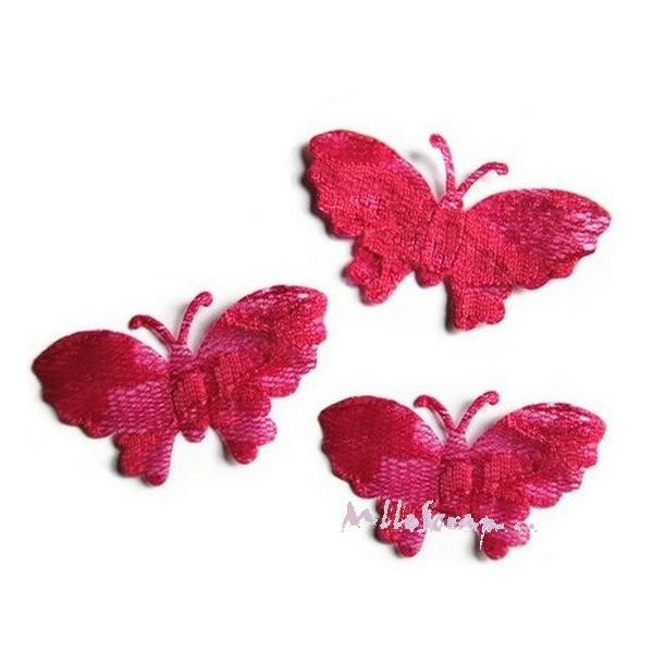 Appliques papillons tissu dentelle - 4 pièces - Photo n°1
