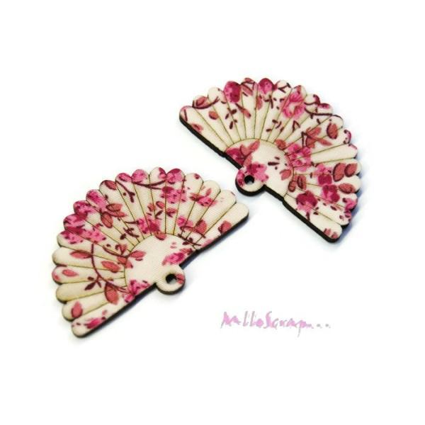 Evantails bois recouvert tissu rose - 2 pièces - Photo n°1