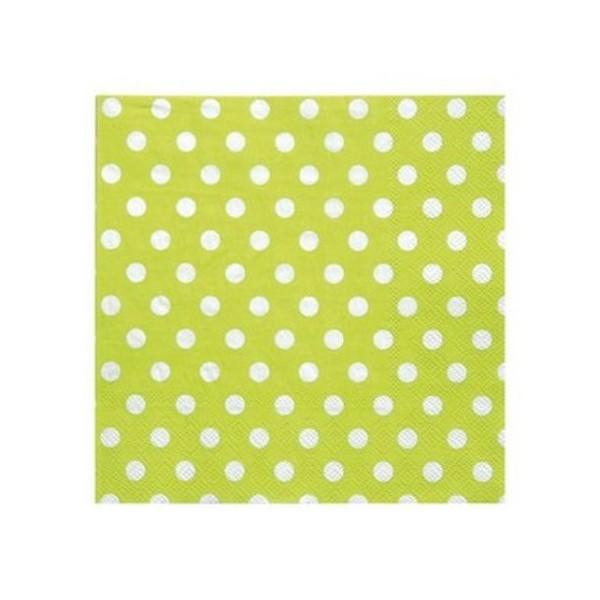 100 Serviettes en papier vert anis à pois blancs - Photo n°1