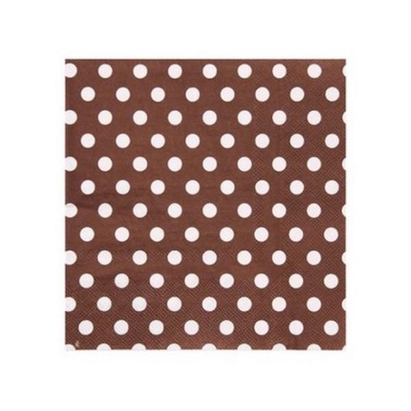 100 Serviettes en papier chocolat à pois blancs - Photo n°1