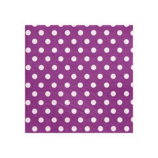 100 Serviettes en papier violet à pois blancs - Photo n°1