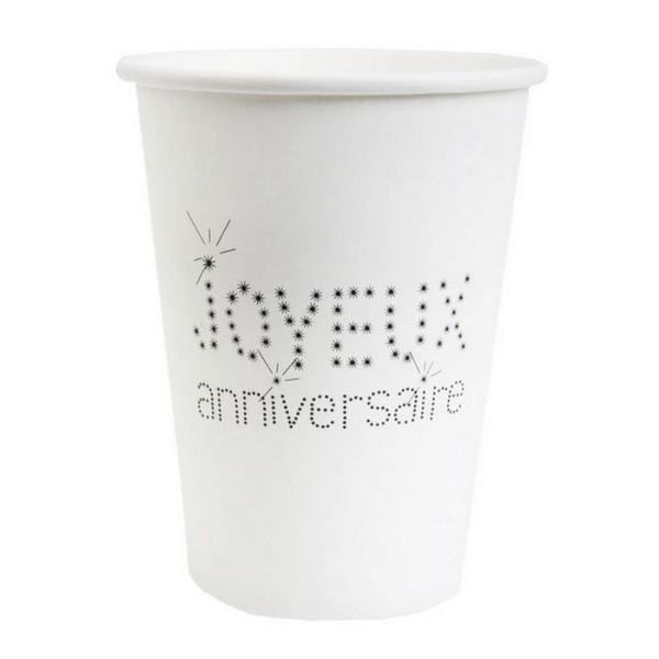100 Gobelets en carton blanc Joyeux Anniversaire - Photo n°1