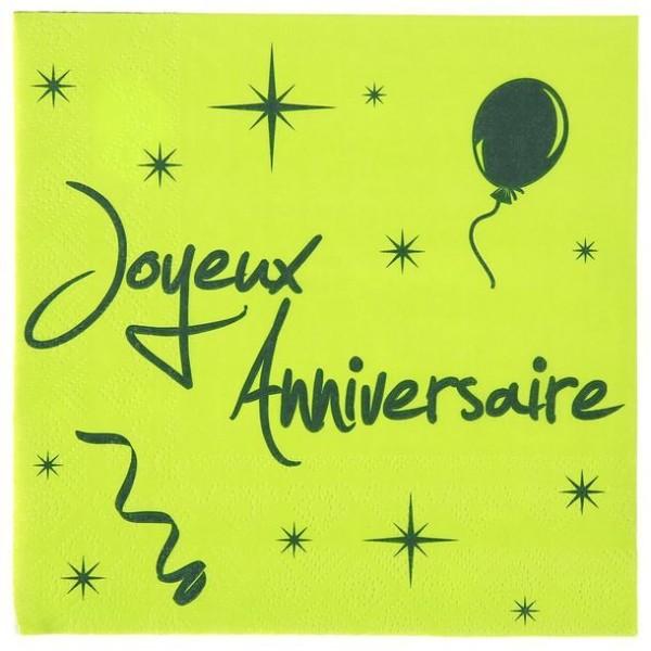 100 Serviettes en papier vert anis et noir Joyeux Anniversaire - Photo n°1