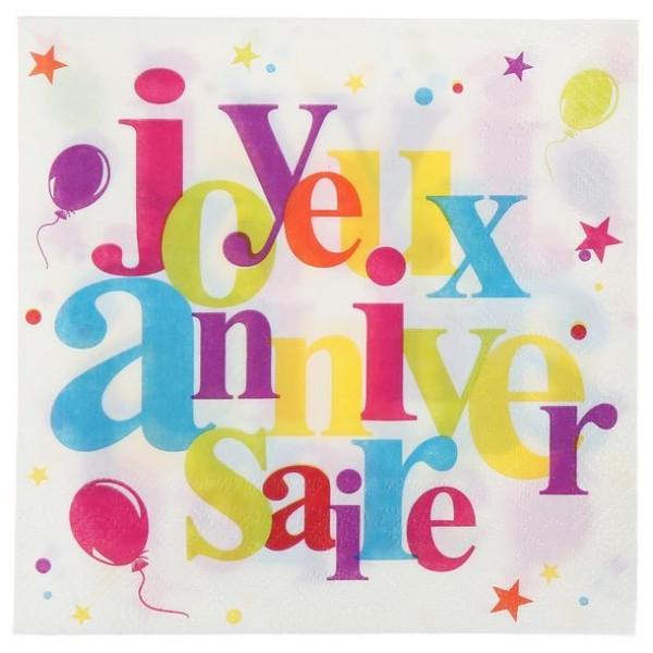 100 Serviettes Joyeux Anniversaire multicolore - Photo n°1