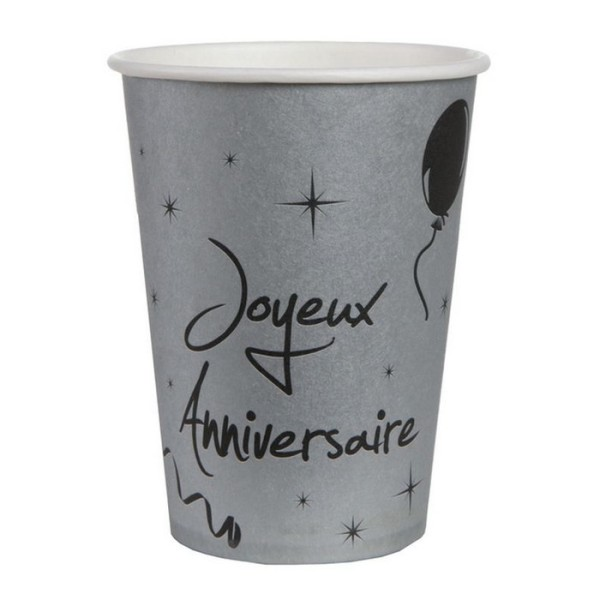100 Gobelets argent joyeux anniversaire - Photo n°1
