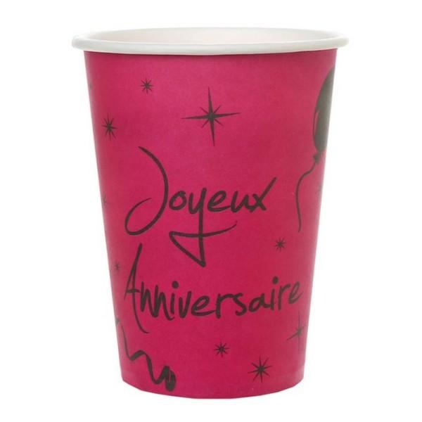 100 Gobelets fuschia Joyeux anniversaire - Photo n°1