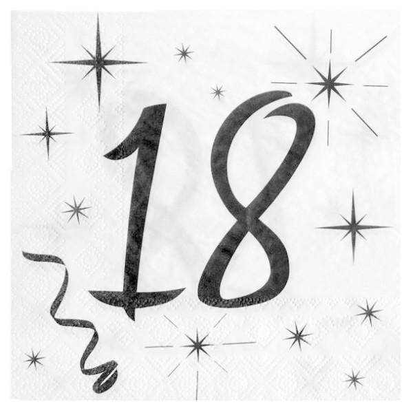 100 Serviettes en papier Anniversaire 18 ans - Photo n°1