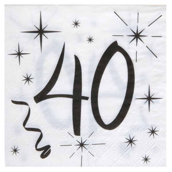 100 Serviettes en papier Anniversaire 40 ans - Photo n°1