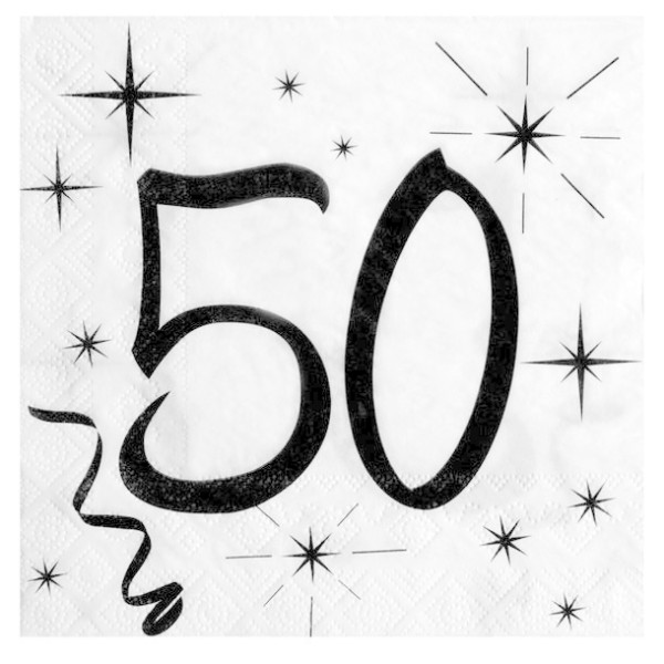 100 Serviettes en papier Anniversaire 50 ans - Photo n°1