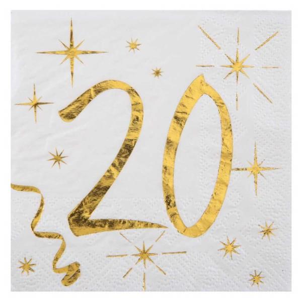 100 Serviettes cocktail anniversaire 20 ans blanc et or - Photo n°1