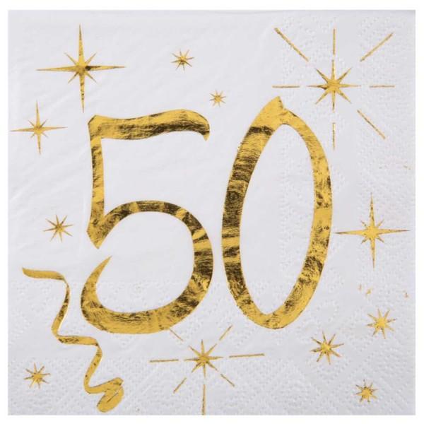 100 Serviettes cocktail anniversaire 50 ans blanc et or - Photo n°1