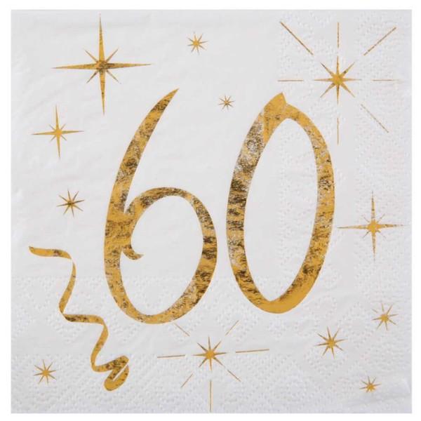 100 Serviettes cocktail anniversaire 60 ans blanc et or - Photo n°1